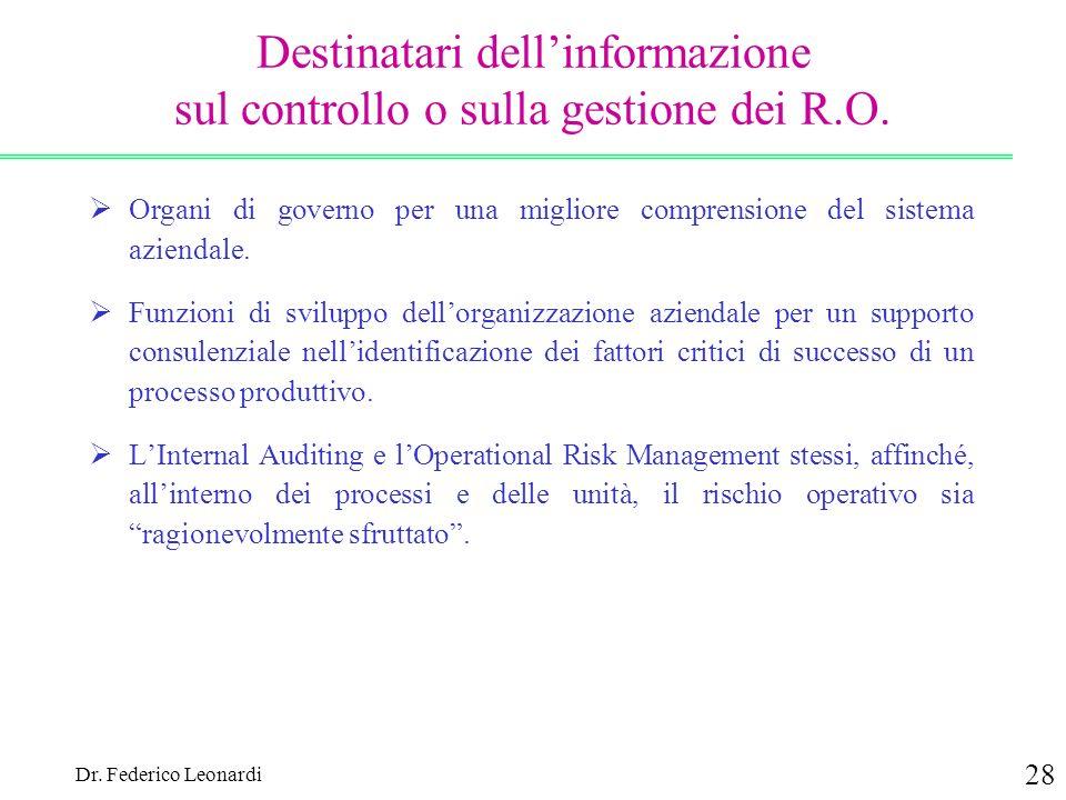 Destinatari dell'informazione sul controllo o sulla gestione dei R.O.