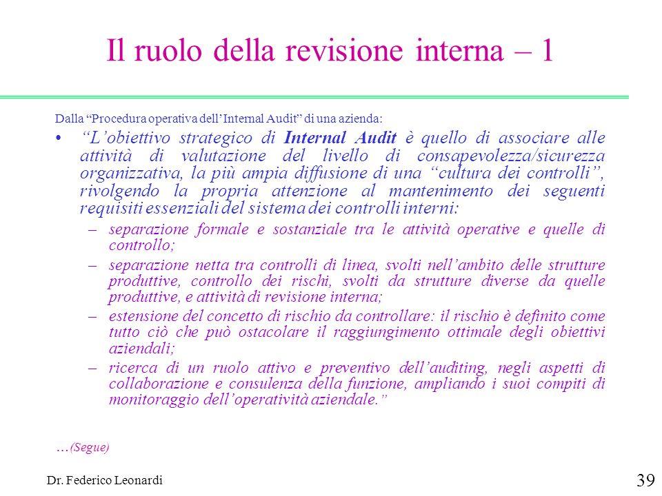 Il ruolo della revisione interna – 1