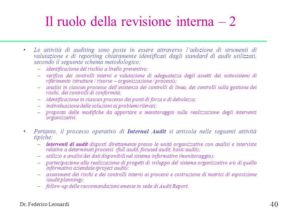 Il ruolo della revisione interna – 2