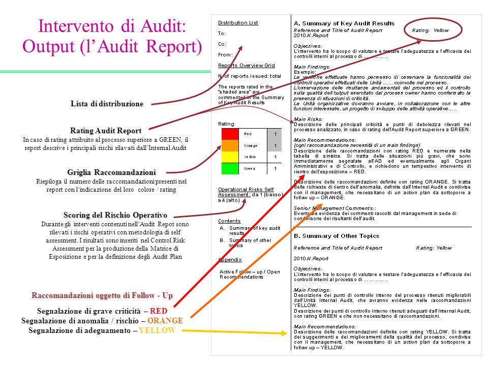 Intervento di Audit: Output (l'Audit Report)
