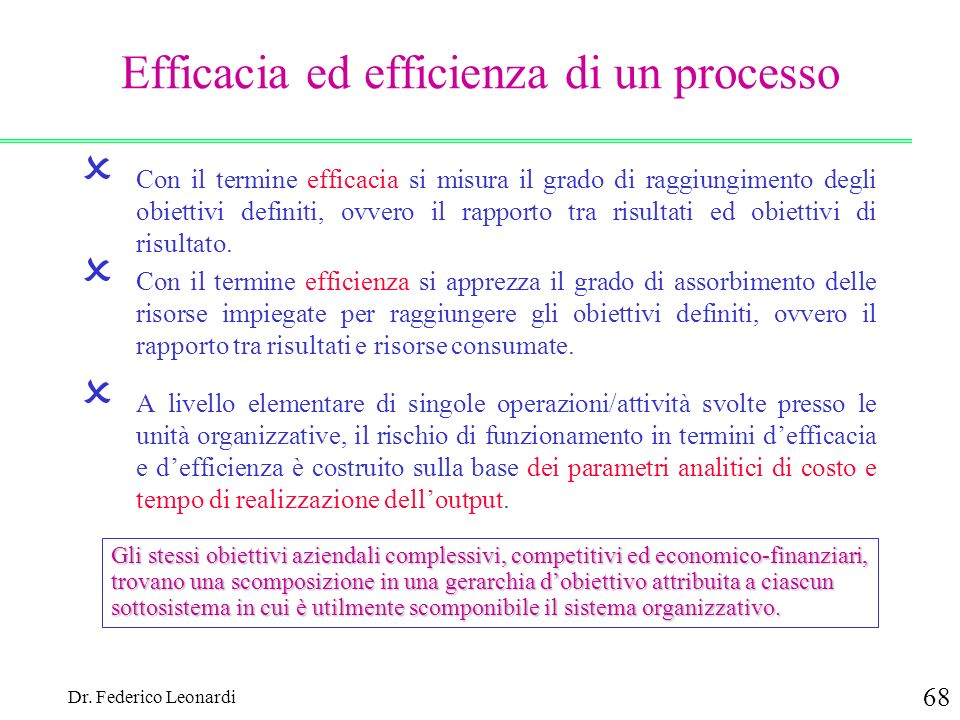 Efficacia ed efficienza di un processo