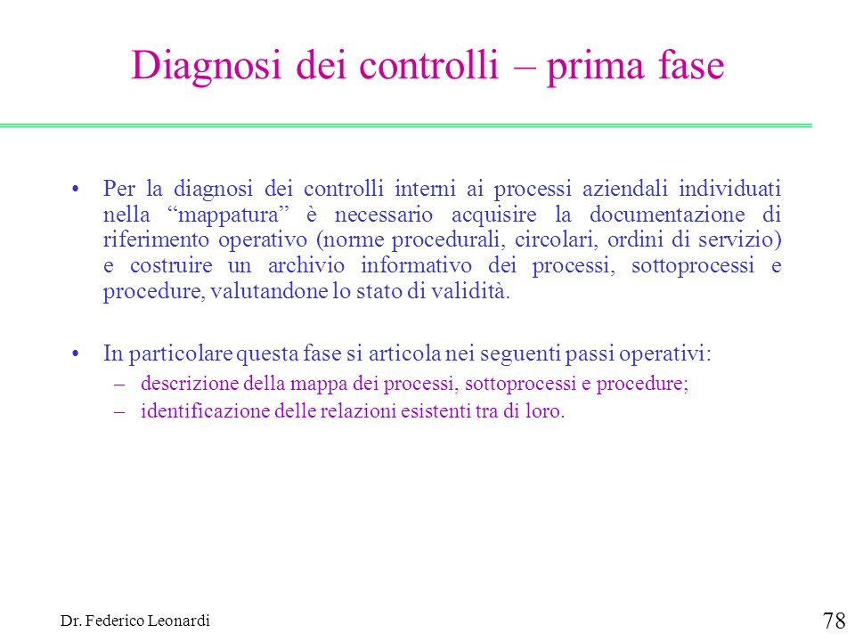 Diagnosi dei controlli – prima fase