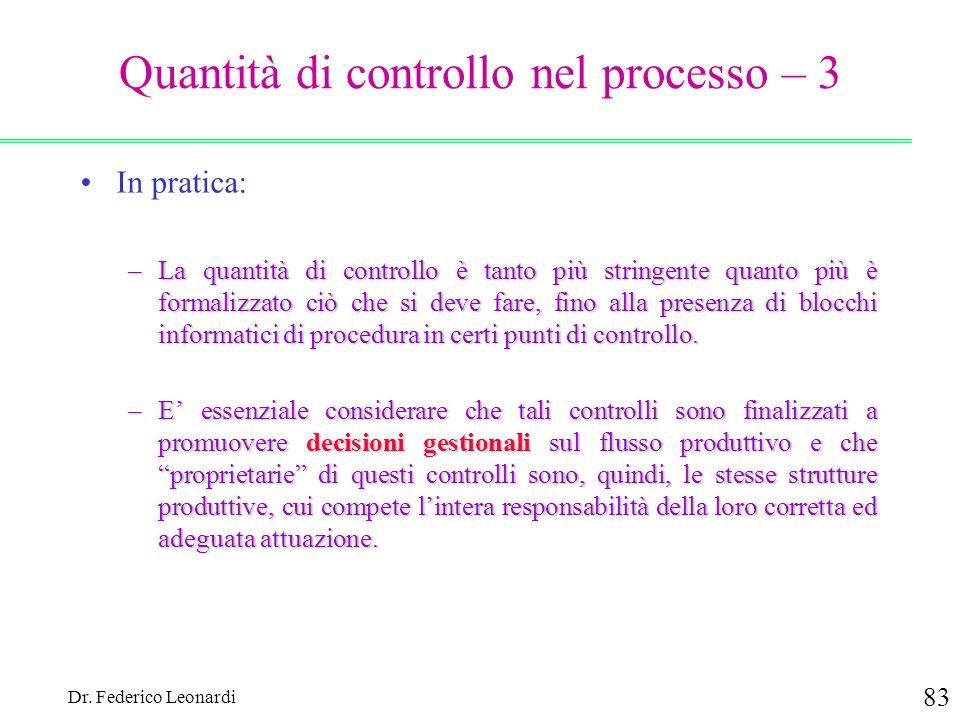 Quantità di controllo nel processo – 3