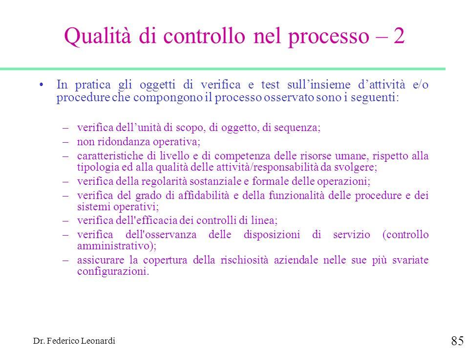 Qualità di controllo nel processo – 2