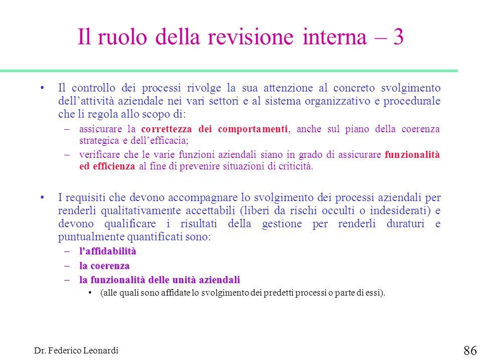 Il ruolo della revisione interna – 3