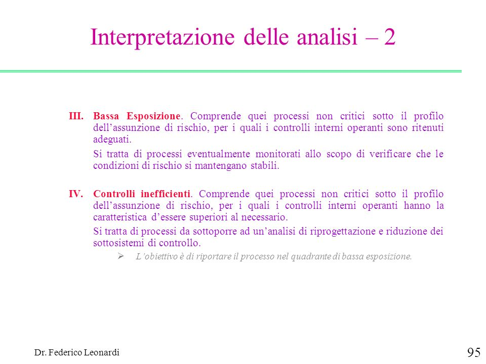 Interpretazione delle analisi – 2