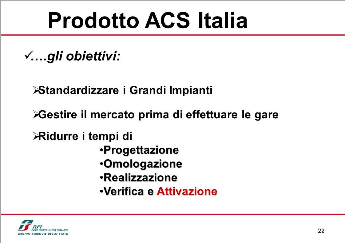 Prodotto ACS Italia ….gli obiettivi: Standardizzare i Grandi Impianti