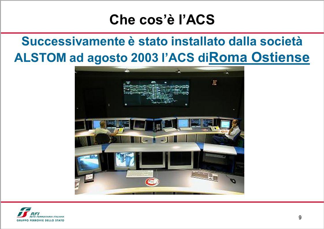 Che cos'è l'ACS Successivamente è stato installato dalla società ALSTOM ad agosto 2003 l'ACS diRoma Ostiense.