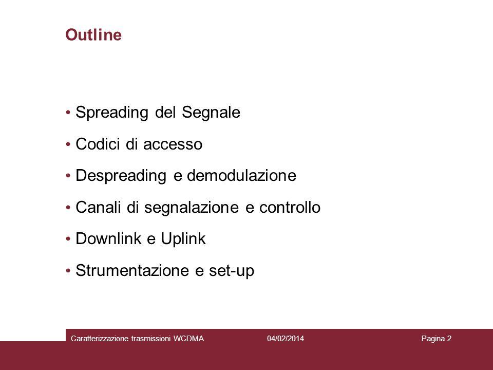 Despreading e demodulazione Canali di segnalazione e controllo