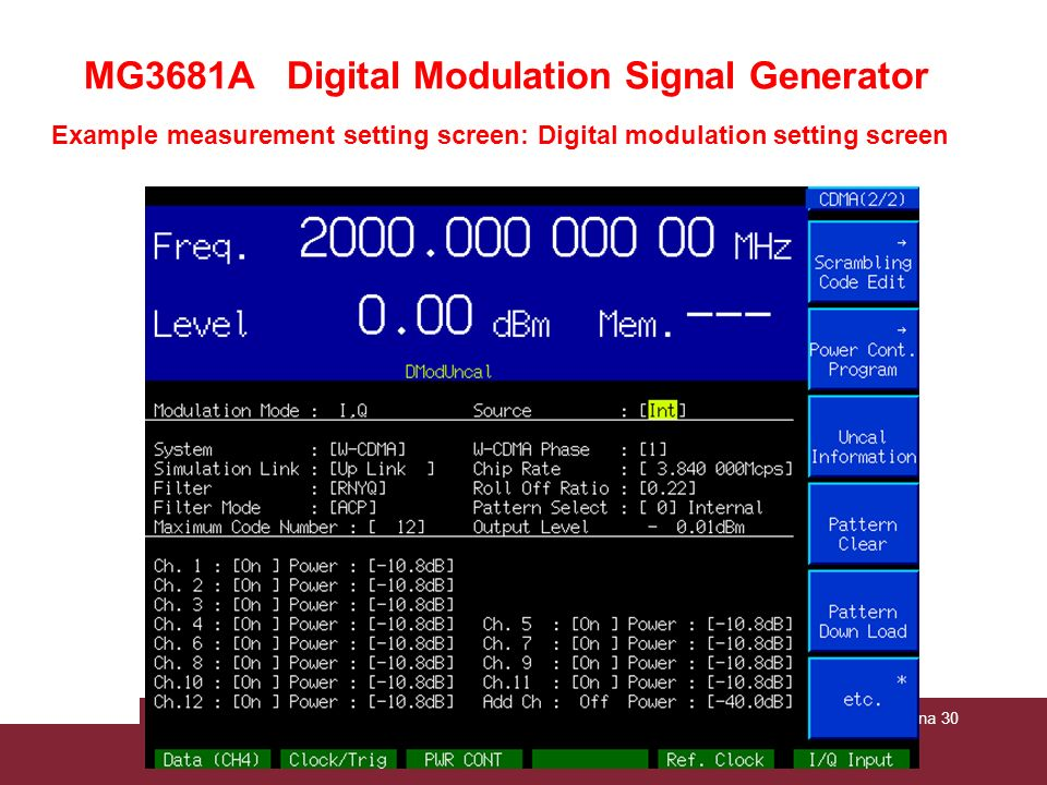 Example measurement setting screen: Digital modulation setting screen