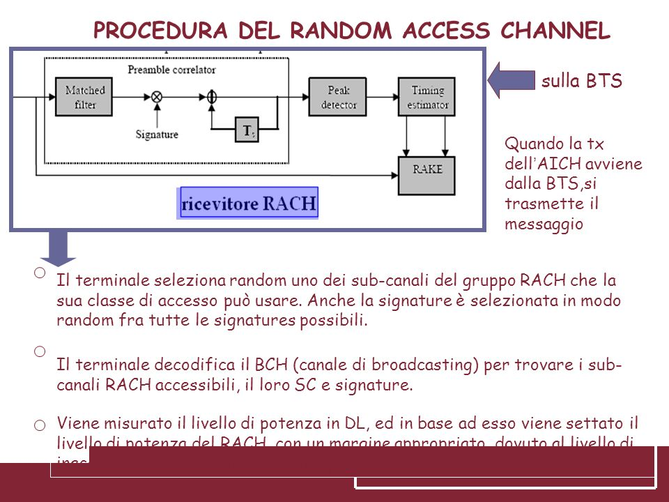 PROCEDURA DEL RANDOM ACCESS CHANNEL