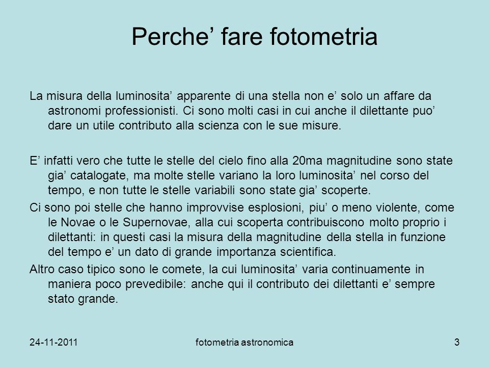 Perche' fare fotometria