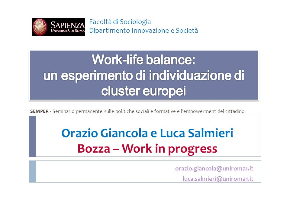 Orazio Giancola e Luca Salmieri Bozza – Work in progress