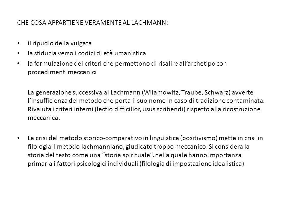 Che cosa appartiene veramente al Lachmann: