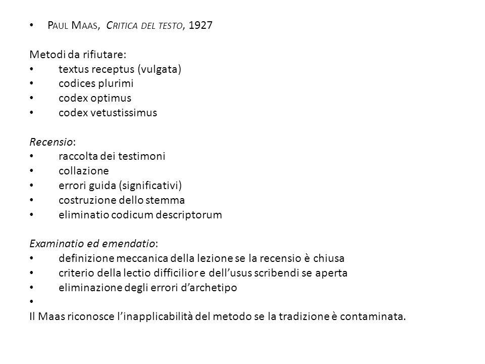 Paul Maas, Critica del testo, 1927