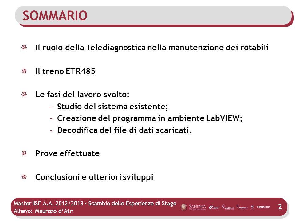 SOMMARIOIl ruolo della Telediagnostica nella manutenzione dei rotabili. Il treno ETR485. Le fasi del lavoro svolto: