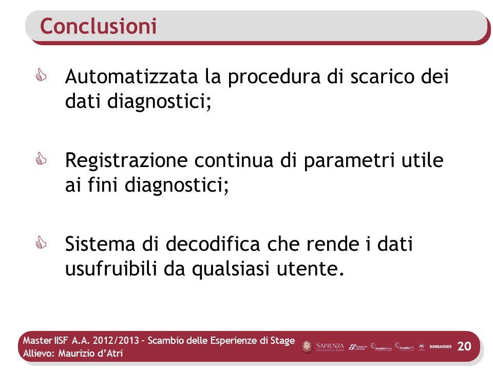 Conclusioni Automatizzata la procedura di scarico dei dati diagnostici; Registrazione continua di parametri utile ai fini diagnostici;