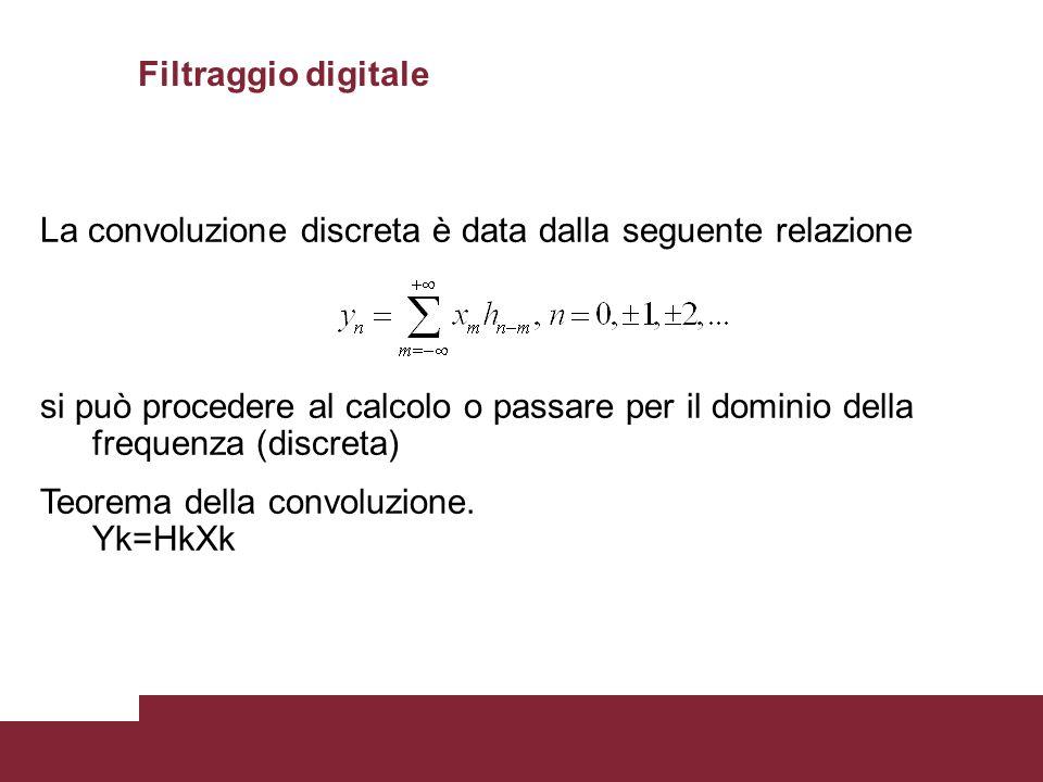 Filtraggio digitale La convoluzione discreta è data dalla seguente relazione.