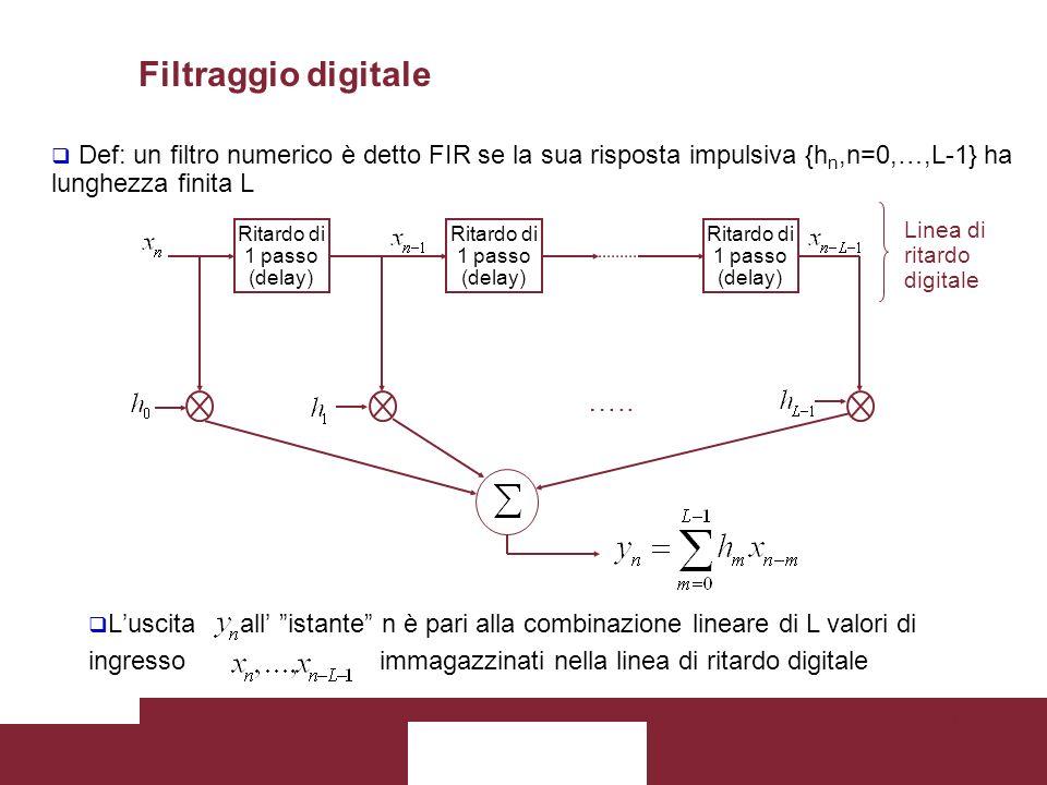Filtraggio digitale Def: un filtro numerico è detto FIR se la sua risposta impulsiva {hn,n=0,…,L-1} ha lunghezza finita L.