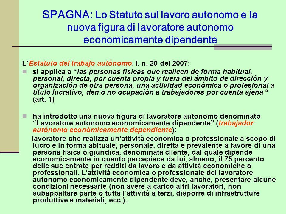 SPAGNA: Lo Statuto sul lavoro autonomo e la nuova figura di lavoratore autonomo economicamente dipendente