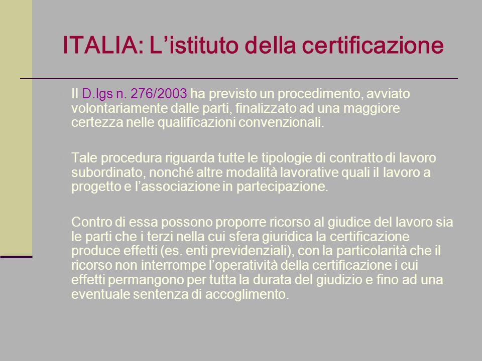 ITALIA: L'istituto della certificazione
