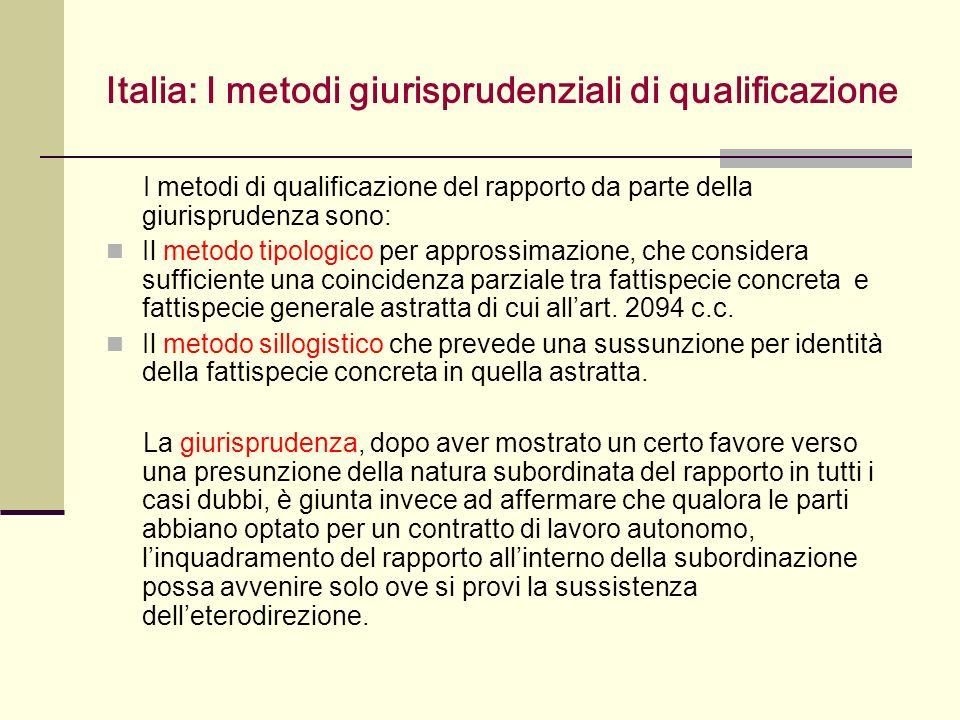 Italia: I metodi giurisprudenziali di qualificazione