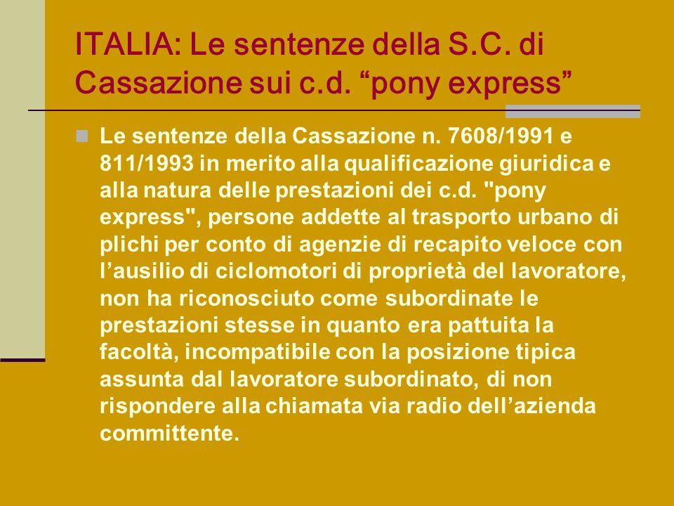 ITALIA: Le sentenze della S.C. di Cassazione sui c.d. pony express