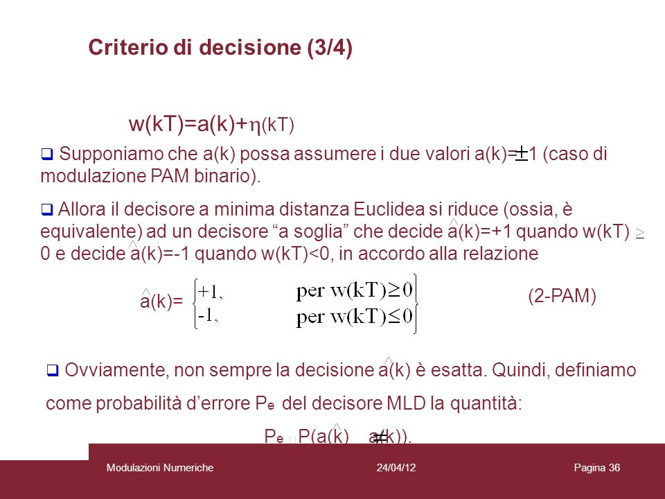 Criterio di decisione (3/4)