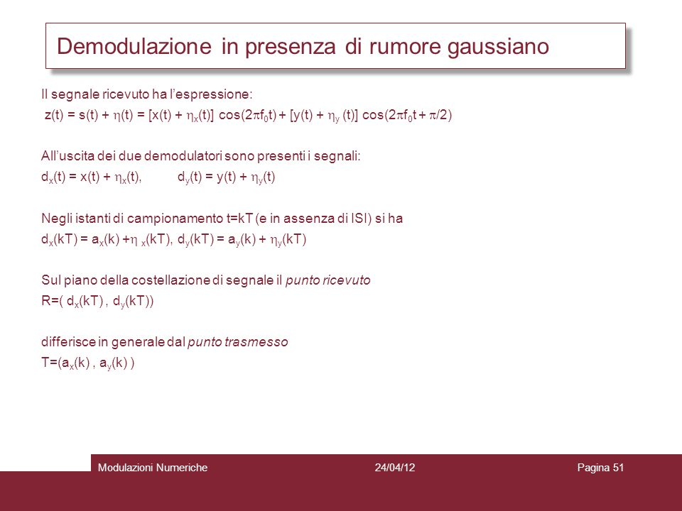 Demodulazione in presenza di rumore gaussiano