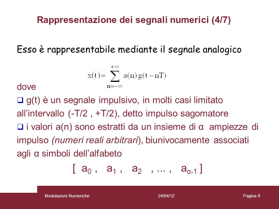 Rappresentazione dei segnali numerici (4/7)