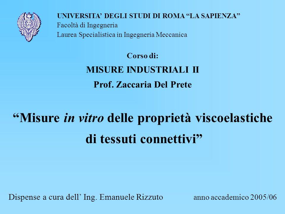 Misure in vitro delle proprietà viscoelastiche di tessuti connettivi