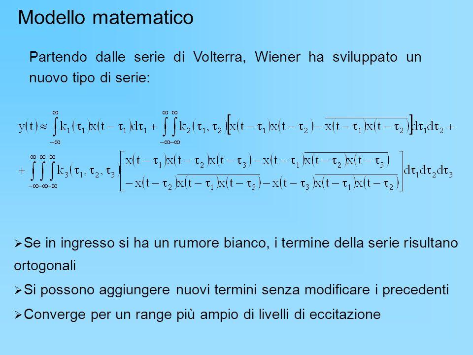 Modello matematico Partendo dalle serie di Volterra, Wiener ha sviluppato un nuovo tipo di serie: