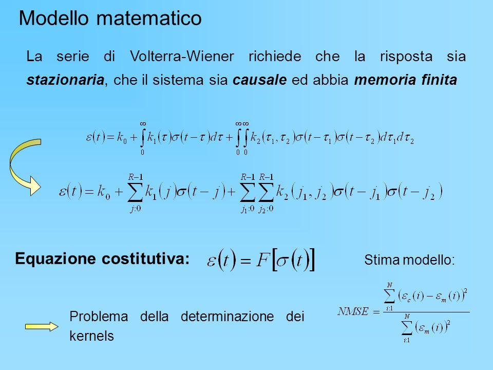 Modello matematico Equazione costitutiva: