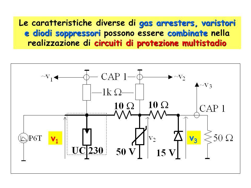 Le caratteristiche diverse di gas arresters, varistori e diodi soppressori possono essere combinate nella realizzazione di circuiti di protezione multistadio