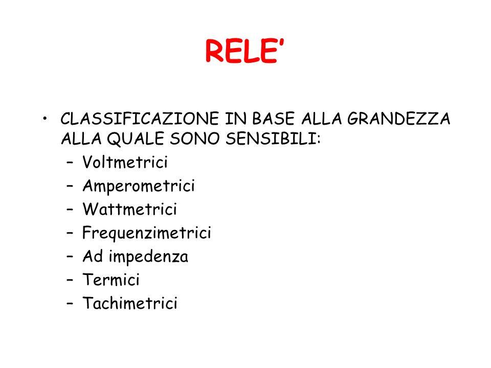 RELE' CLASSIFICAZIONE IN BASE ALLA GRANDEZZA ALLA QUALE SONO SENSIBILI: Voltmetrici. Amperometrici.