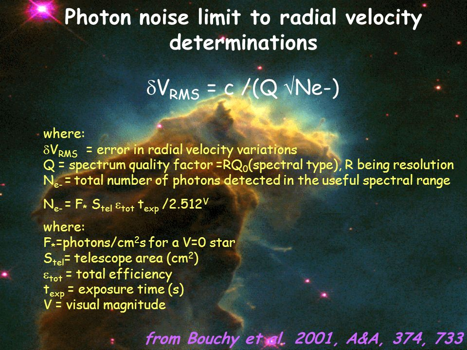 Photon noise limit to radial velocity determinations