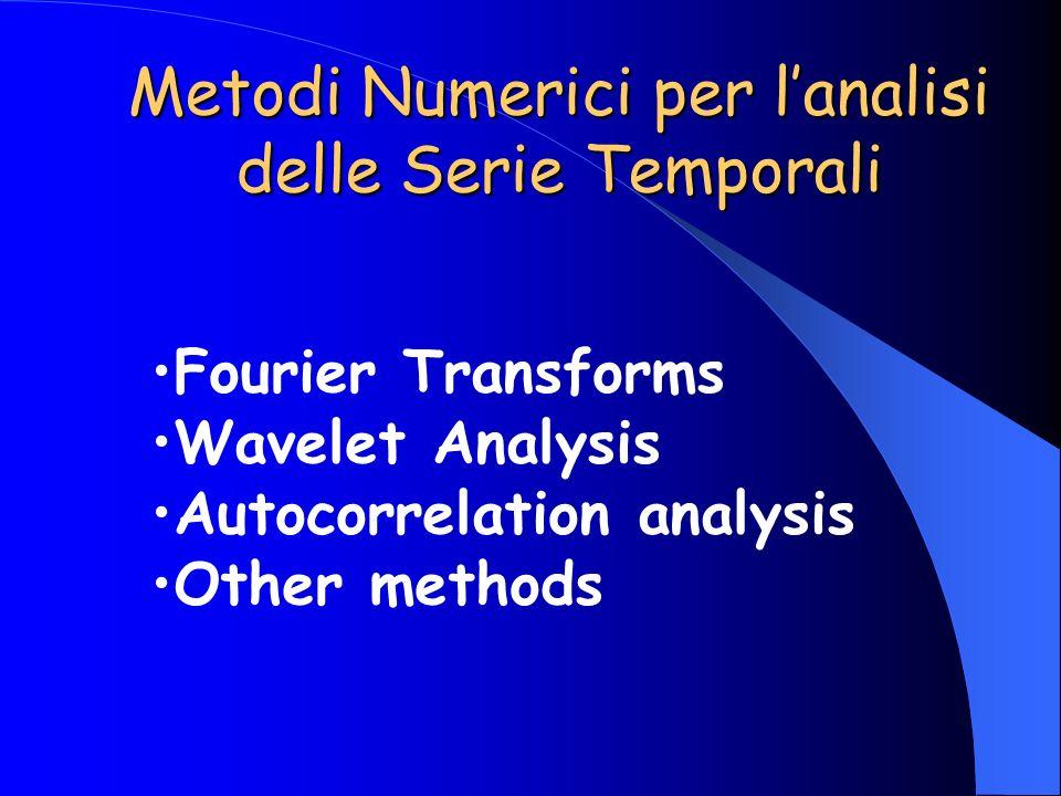 Metodi Numerici per l'analisi delle Serie Temporali