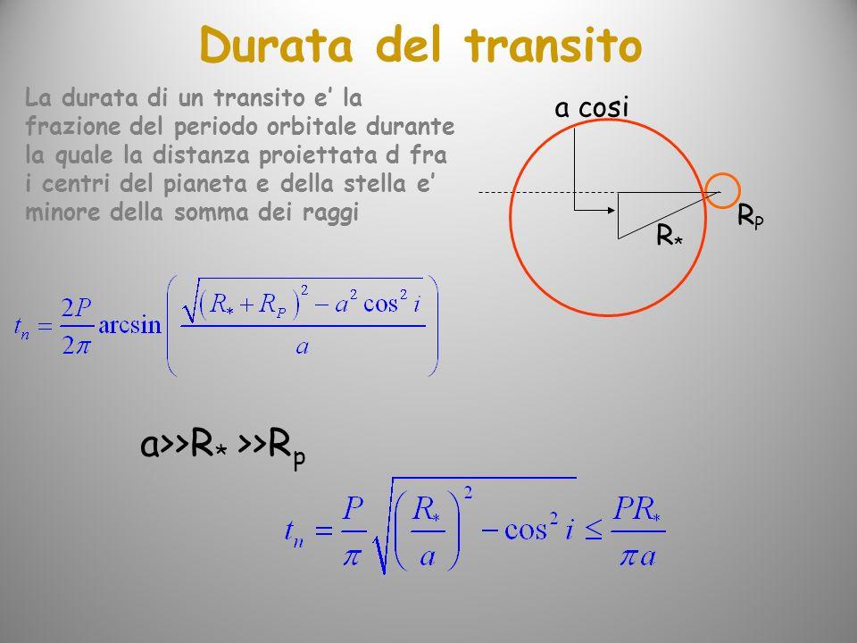 Durata del transito a>>R* >>Rp a cosi RP R*