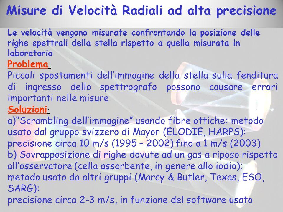 Misure di Velocità Radiali ad alta precisione