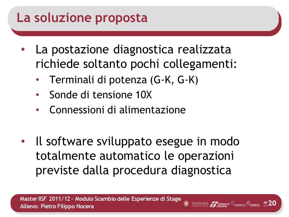 La soluzione proposta La postazione diagnostica realizzata richiede soltanto pochi collegamenti: Terminali di potenza (G-K, G-K)