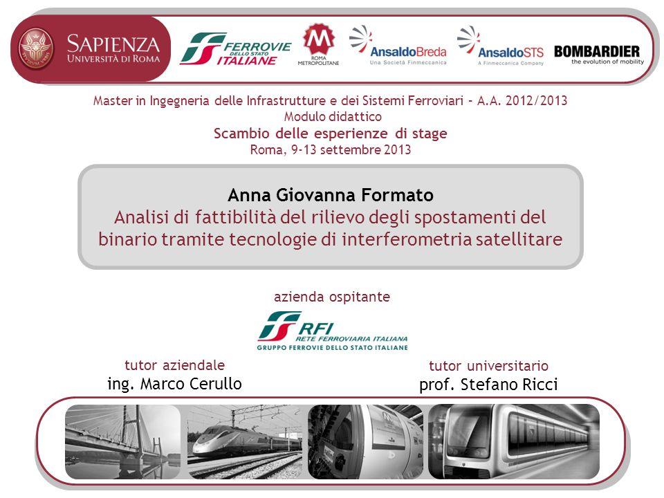 Master in Ingegneria delle Infrastrutture e dei Sistemi Ferroviari – A