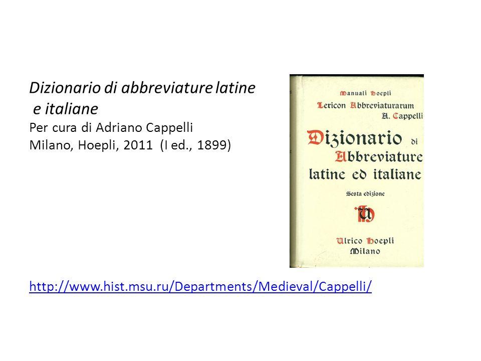 Dizionario di abbreviature latine e italiane
