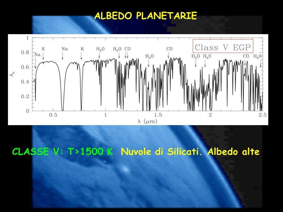 ALBEDO PLANETARIE CLASSE V: T>1500 K Nuvole di Silicati. Albedo alte