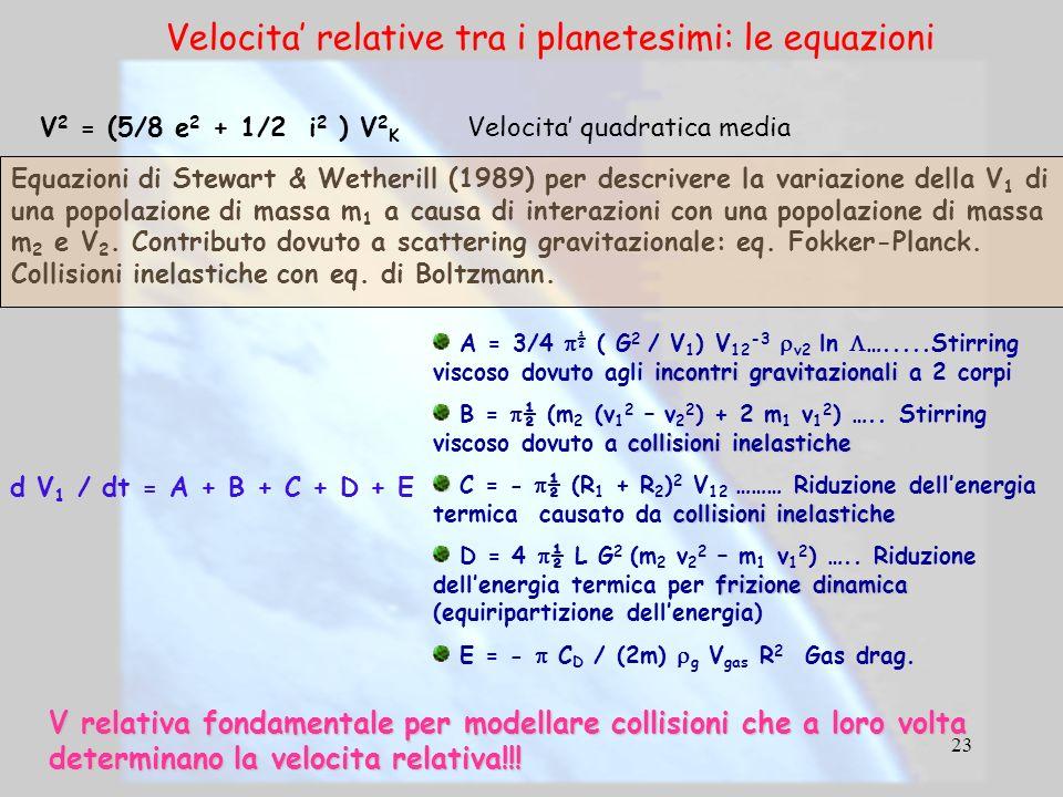 Velocita' relative tra i planetesimi: le equazioni