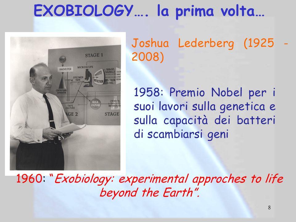 EXOBIOLOGY…. la prima volta…
