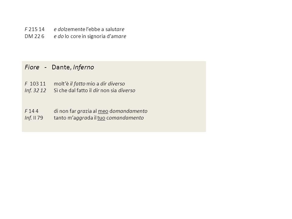 Fiore - Dante, Inferno F 215 14 e dolzemente l'ebbe a salutare
