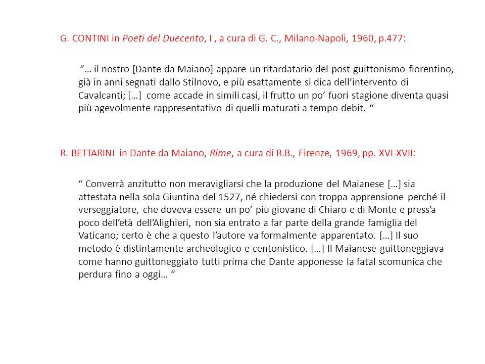 G. CONTINI in Poeti del Duecento, I , a cura di G. C