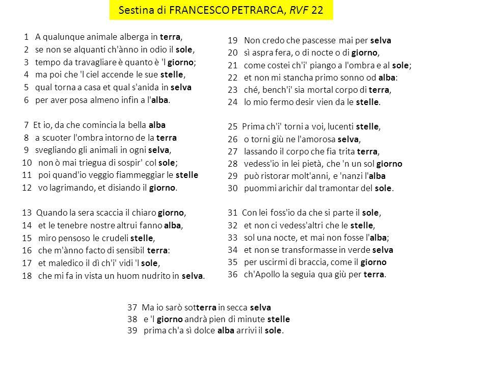 Sestina di FRANCESCO PETRARCA, RVF 22
