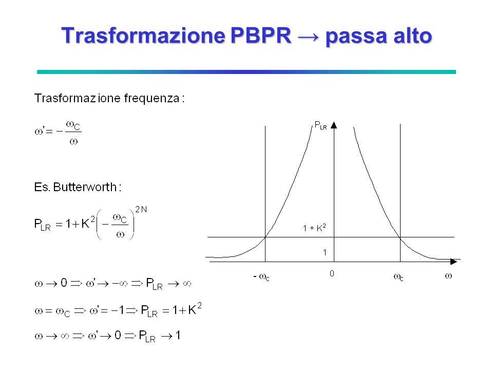 Trasformazione PBPR → passa alto