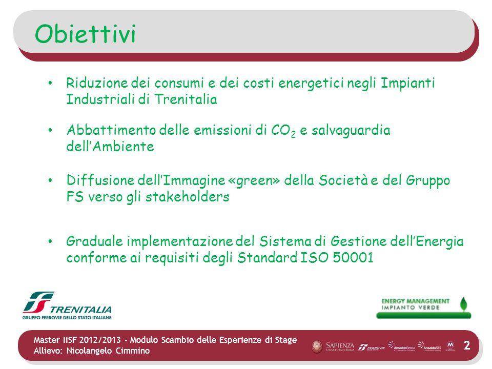 Obiettivi Riduzione dei consumi e dei costi energetici negli Impianti Industriali di Trenitalia.